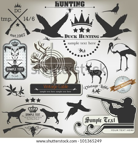 set of vintage labels on hunting