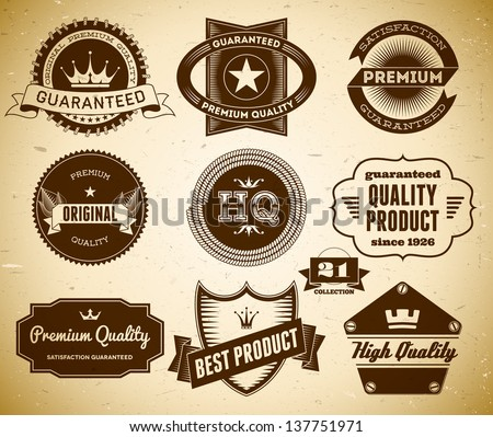 Set of vintage labels on the cardboard. Collection 21