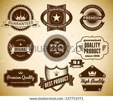 Set of vintage labels on the cardboard. Collection 21