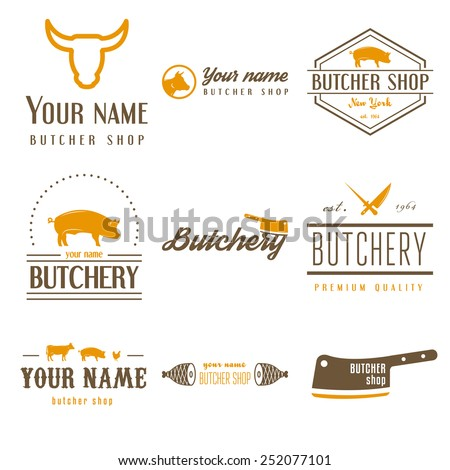 Set of vintage labels templates and logo of butchery meat shop and logotype elements