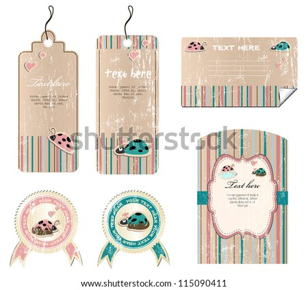 set of vintage labels, vector illustration 8