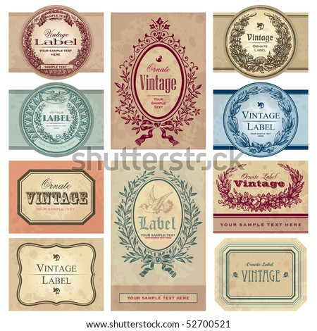 set of 10 vintage labels with antique design elements of various styles, vector