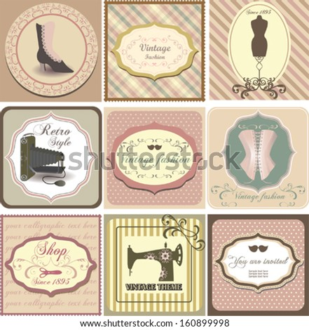Set of vintage labels with fashion motifs