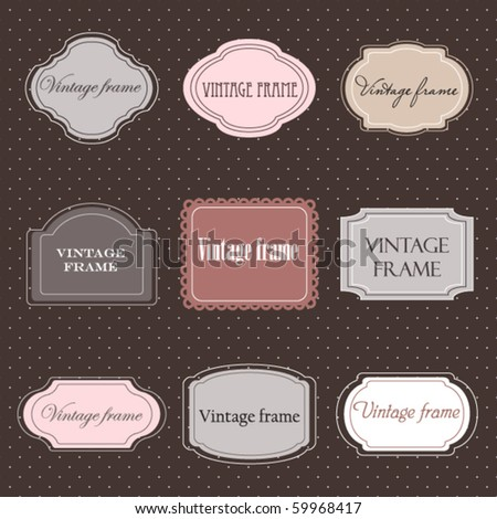 Set of vintage labels with polka dot background