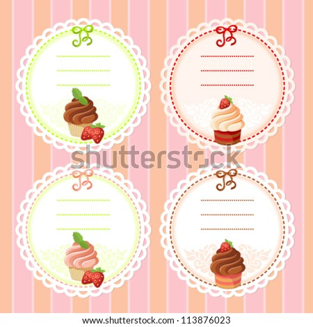 Set of vintage lace frames with dessert and berry image: cupcake and strawberry