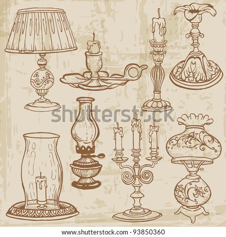 Set of Vintage Lamps and Candles - hand drawn in vector