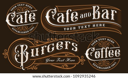 Set of vintage lettering illustrations for the restaurants, cafe, bar and other. All objects are on the separate groups.