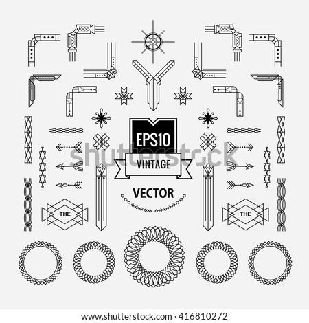 set of vintage linear thin line art deco retro geometric shape design elements with frame corner art deco furniture lines