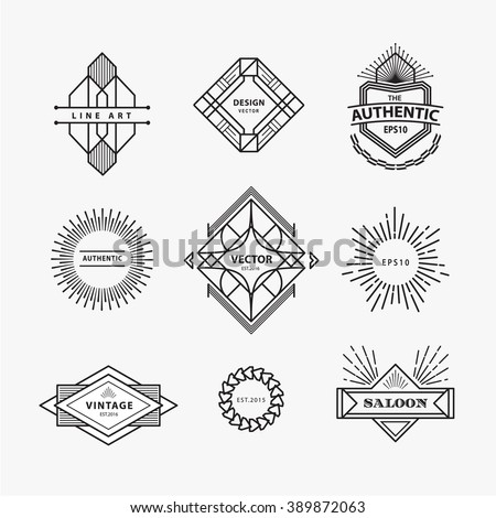 Set of vintage linear thin line geometric shape art deco retro design elements with badge