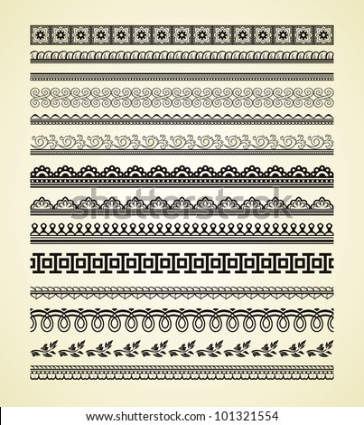 Set of vintage lines on beige background #101321554
