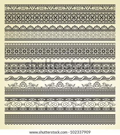 Set of vintage lines on beige background #102337909