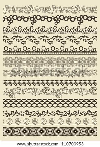 Set of vintage lines on beige background #110700953