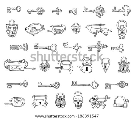 Free Set Of Vintage Locks And Keys In Vector Doodles Isolated On A White Background With Lock Key Clipart Black