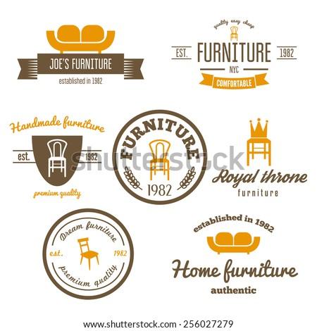 Set of vintage logo, badge,emblem and logotype elements for furniture shop