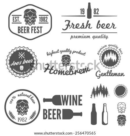Set of vintage logo, badge, emblem or logotype elements for beer, beer shop, home brew, tavern, bar, cafe and restaurant