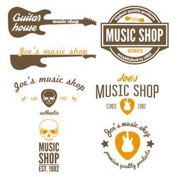 Set of vintage logo, badge, emblem or logotype elements for music shop, guitar shop