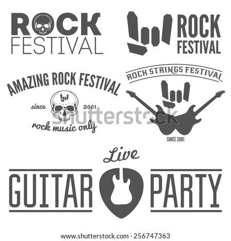 Set of vintage logo, sticker, badge, emblem or logotype elements for rock festival, guitar party and musical performance