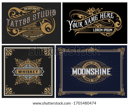 Set of 4 vintage Logos. Vector layered