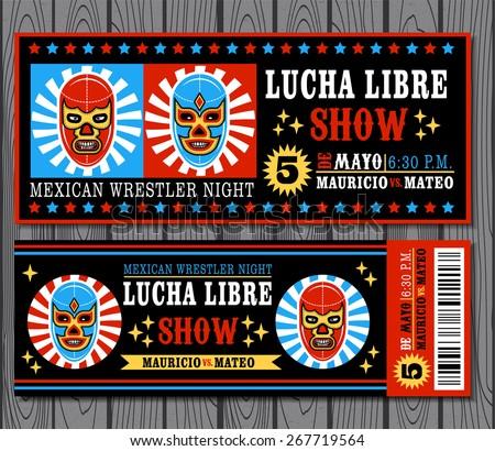 Shutterstock Set of vintage Lucha Libre tickets