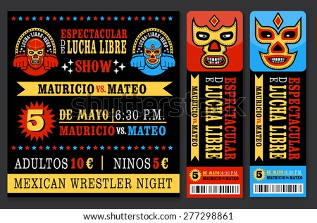 set of vintage lucha libre