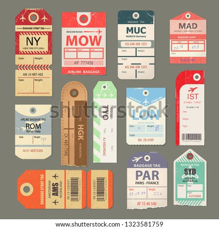 Set of vintage luggage tag, retro travel label, old flight symbol. Check, baggage ticket for passengers at airport, country label, airline baggage tags. Bus, train, airline trip. Vector illustration.