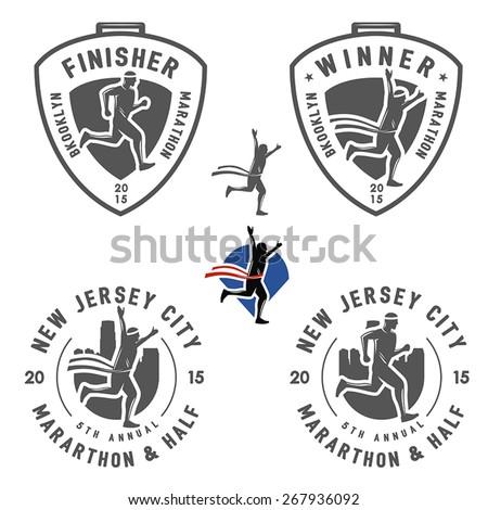 Set of vintage marathon labels, medals and design elements