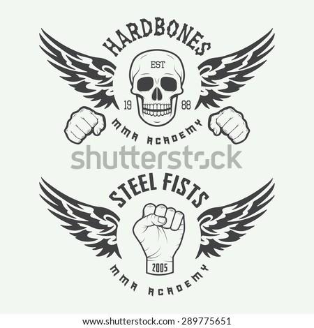 Set of vintage mixed martial arts logo, badges and emblems. Vector illustration