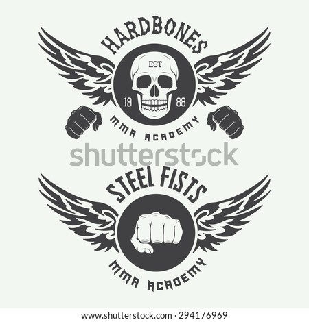 Set of vintage mixed martial arts logo, badges and emblems. Vector illustration
