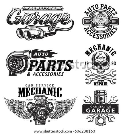 set of vintage monochrome auto...