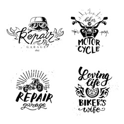 Set of vintage motorcycle emblems, labels, badges, logos and design elements. Monochrome style.