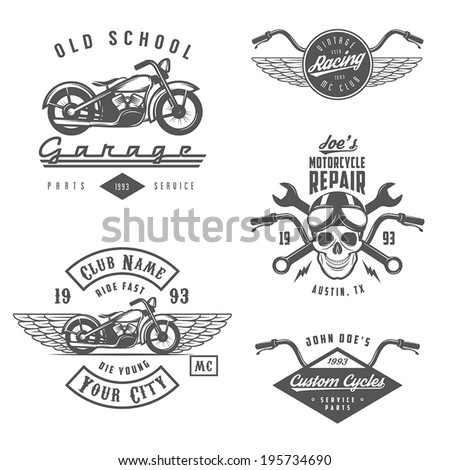 set of vintage motorcycle