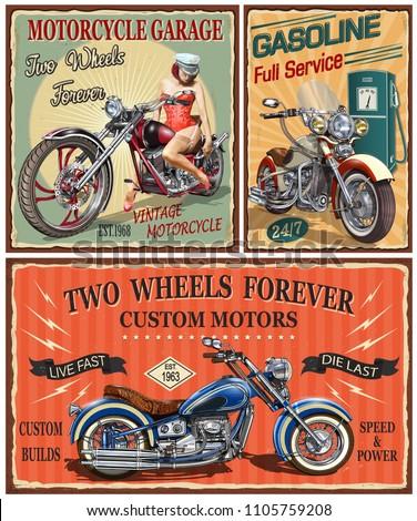 Set of vintage motorcycle metal signs.