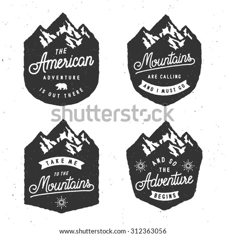 set of vintage mountain badges