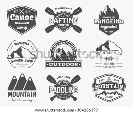 set of vintage mountain ...