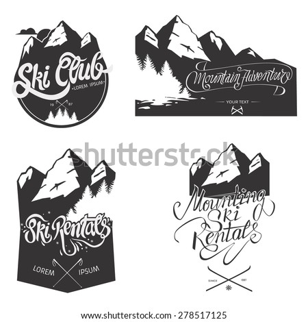 set of vintage mountains and