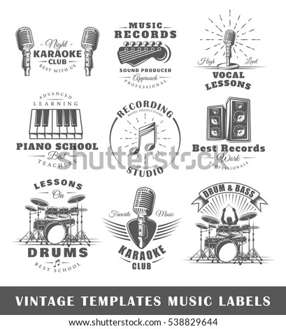 Set of vintage musical labels templates. Elements for design. Vector illustration