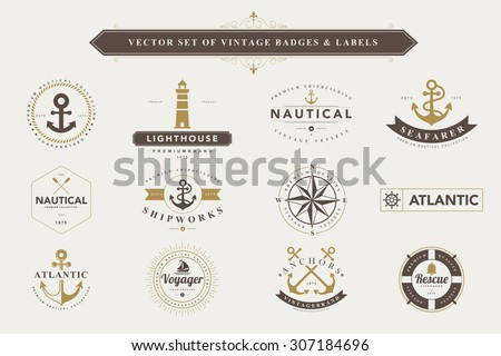set of vintage  nautical badges ...