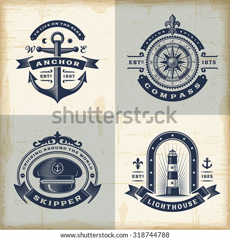 set of vintage nautical labels. ...