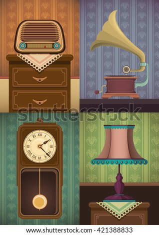 set of vintage objects vector