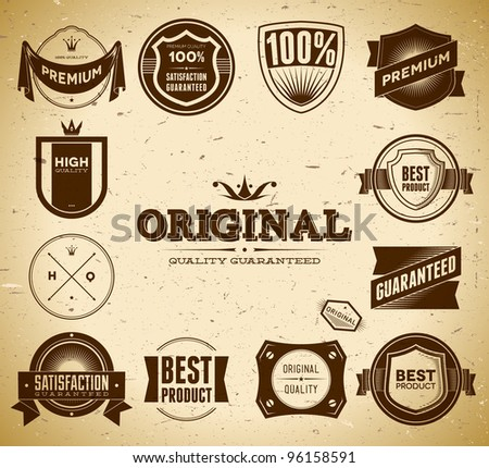 Set of vintage Original an Premium Quality labels