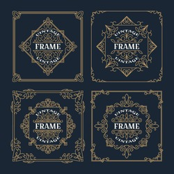 Set of vintage  ornament frame template, antique labels. Retro logo template. Victorian borders for greeting cards, wedding invitations and other design. Vector.