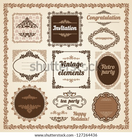 Set of vintage ornate frames with floral elements for invitation, congratulation and greeting card