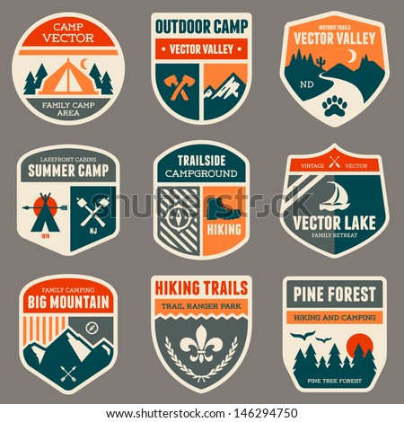 Set of vintage outdoor camp badges and logo emblems