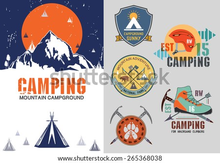 Set of vintage outdoor camp badges, logo and design elements. Vintage print, mountain travel Style. Typography vector Elements.