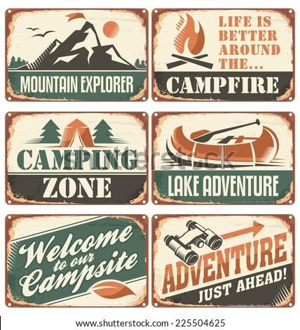 set of vintage outdoor camp