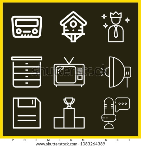 set of 9 vintage outline icons