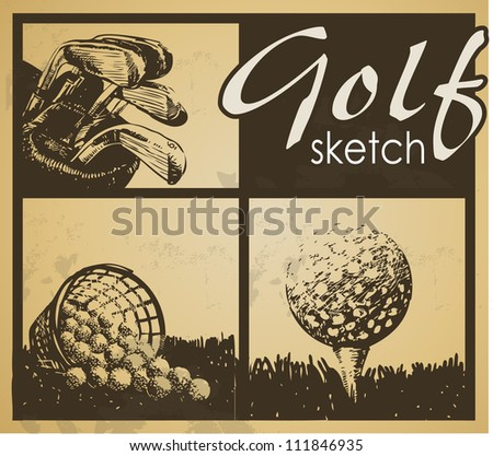 Set of vintage patterns. Golf