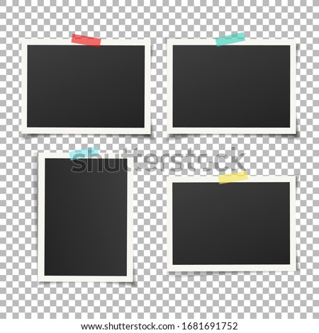 Set of vintage photo frame with adhesive tape. Vintage style.  Vector illustration with adhesive tapes. Photo realistic Vector EPS10 Mockups. Retro Photo Frame Template for your photos.