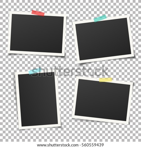 Shutterstock Set of vintage photo frame with adhesive tape. Vintage style.  Vector illustration with adhesive tapes. Photo realistic Vector EPS10 Mockups. Retro Photo Frame Template for your photos.