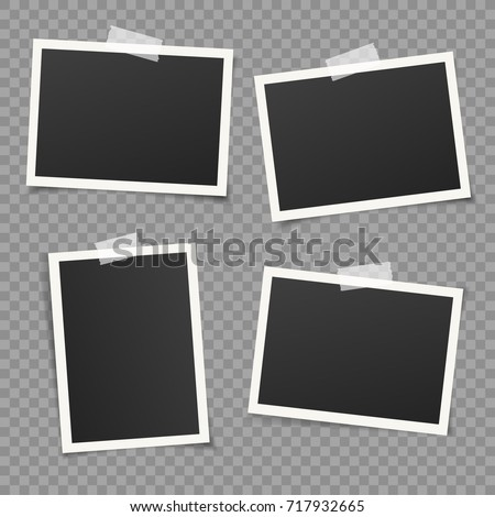 Set of vintage photo frame with adhesive tape. Vintage style.  Vector illustration with adhesive tapes. Photorealistic Vector EPS10 Mockups. Retro Photo Frame Template for your photos.